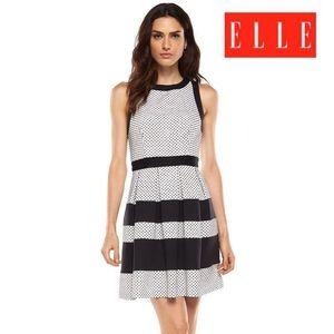 ELLE Striped Polka Dot Jacquard Fit & Flare DRESS